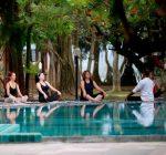 Yoga by the pool, Siddhalepa Ayurveda Spa treat, Sri Lanka, Wadduwa