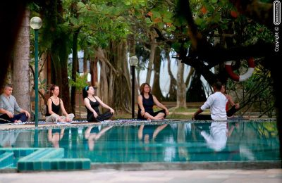 Yoga by the pool, Siddhalepa Ayurveda Spa treat, Sri Lanka, Wadduwa